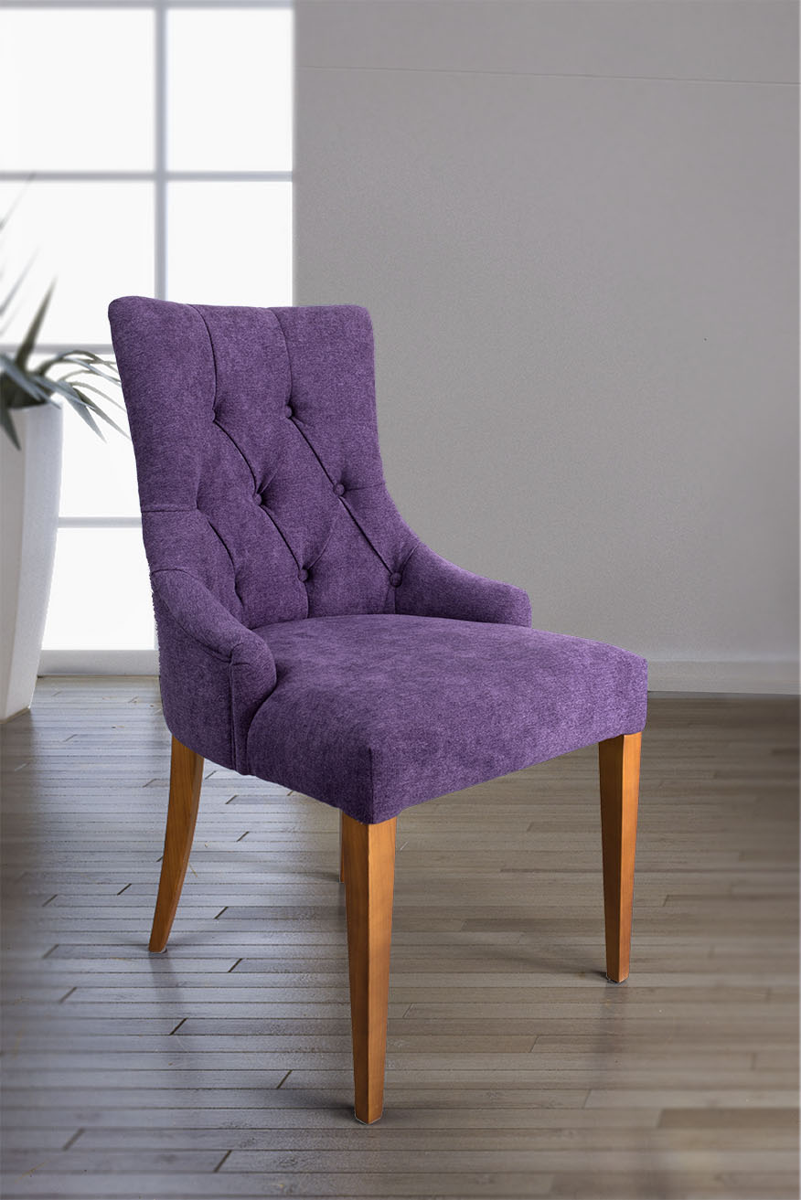 chaise de s jour capitonn e 4 pieds en merisier massif tiss violet meuble en merisier massif. Black Bedroom Furniture Sets. Home Design Ideas