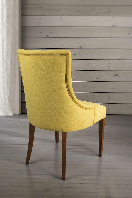 Chaise de s jour capitonn e 4 pieds en merisier massif for Chaise tissu couleur