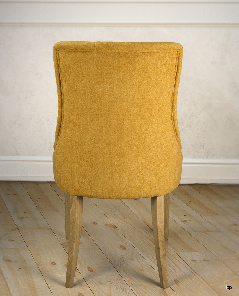 chaise de s jour capitonn e 4 pieds en ch ne massif tissu moutarde meuble en ch ne massif. Black Bedroom Furniture Sets. Home Design Ideas