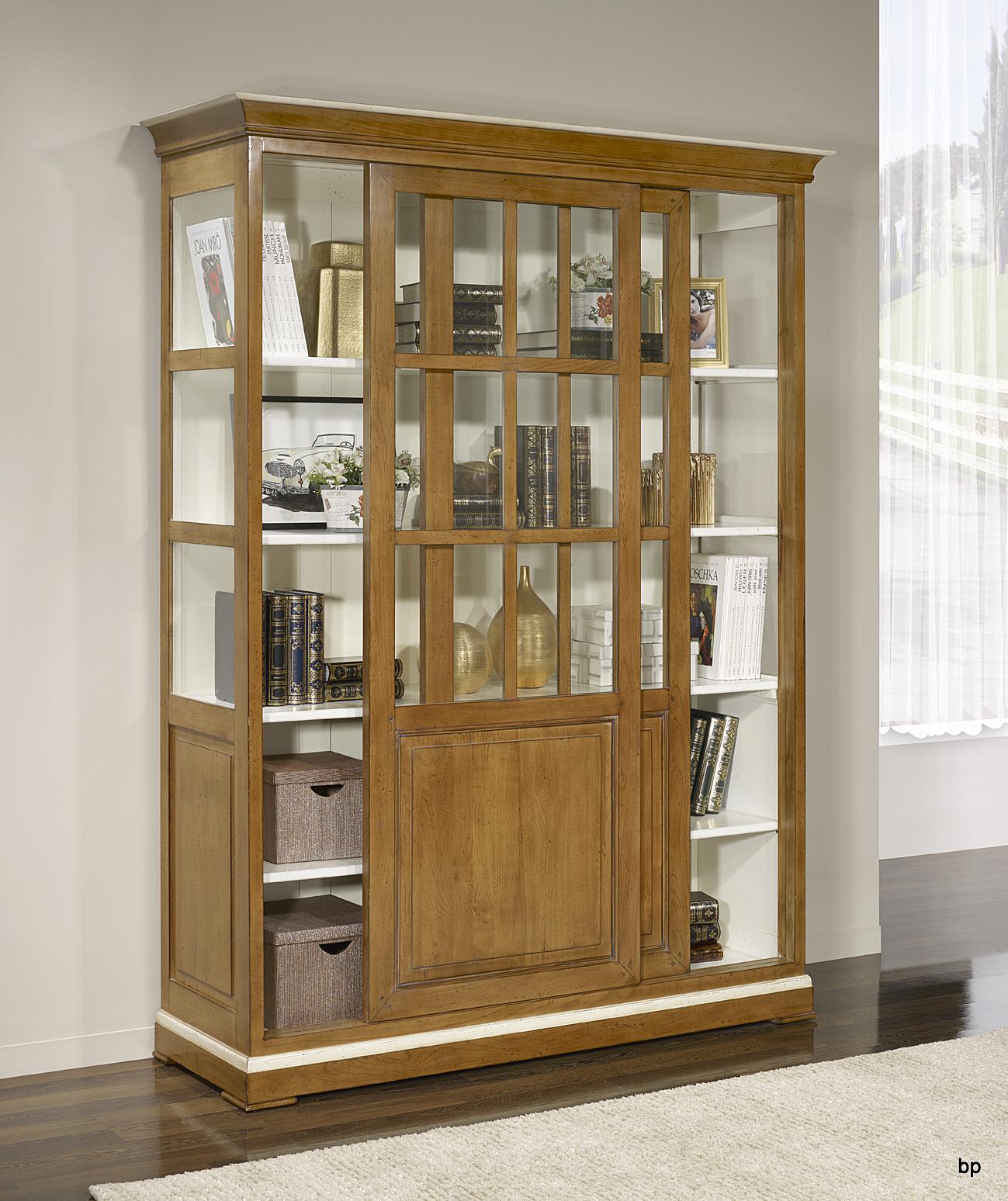 biblioth que portes coulissantes en merisier massif de style directoire bonne affaire 1. Black Bedroom Furniture Sets. Home Design Ideas