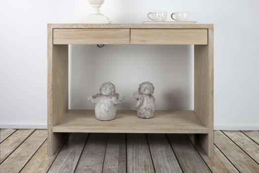 Console 2 tiroirs fr d ric en ch ne de style contemporain meuble en ch ne massif - Meuble console contemporain ...