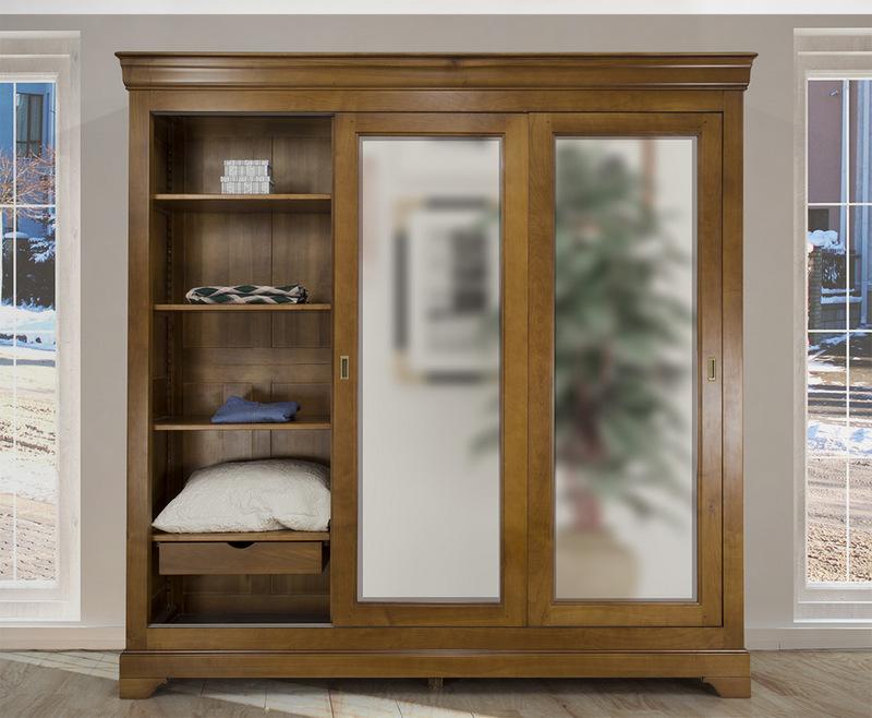 armoire 3 portes christine en merisier massif de style. Black Bedroom Furniture Sets. Home Design Ideas