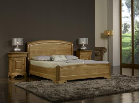 lit 160x200 en ch ne massif de style louis philippe finition ch ne cir meuble en ch ne massif. Black Bedroom Furniture Sets. Home Design Ideas