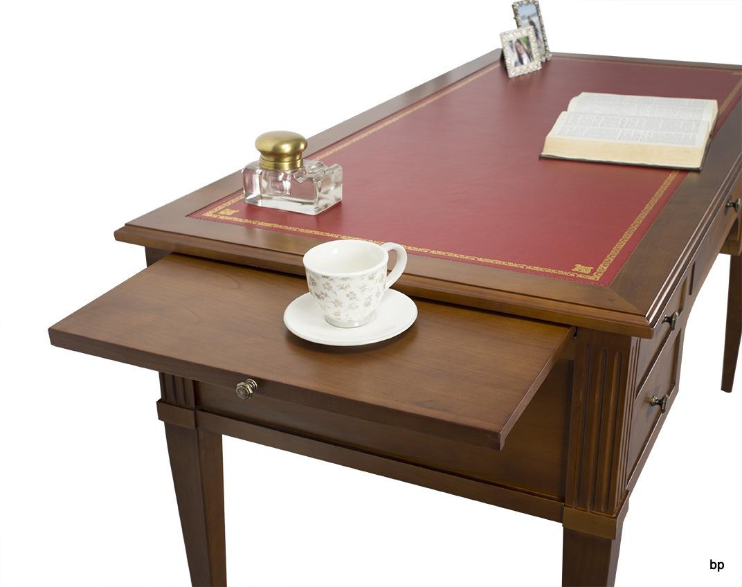 bureau 5 tiroirs en merisier massif de style louis. Black Bedroom Furniture Sets. Home Design Ideas
