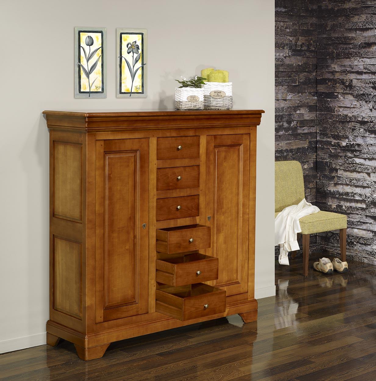 bahut 2 portes 6 tiroirs en merisier massif de style louis philippe meuble en merisier massif. Black Bedroom Furniture Sets. Home Design Ideas