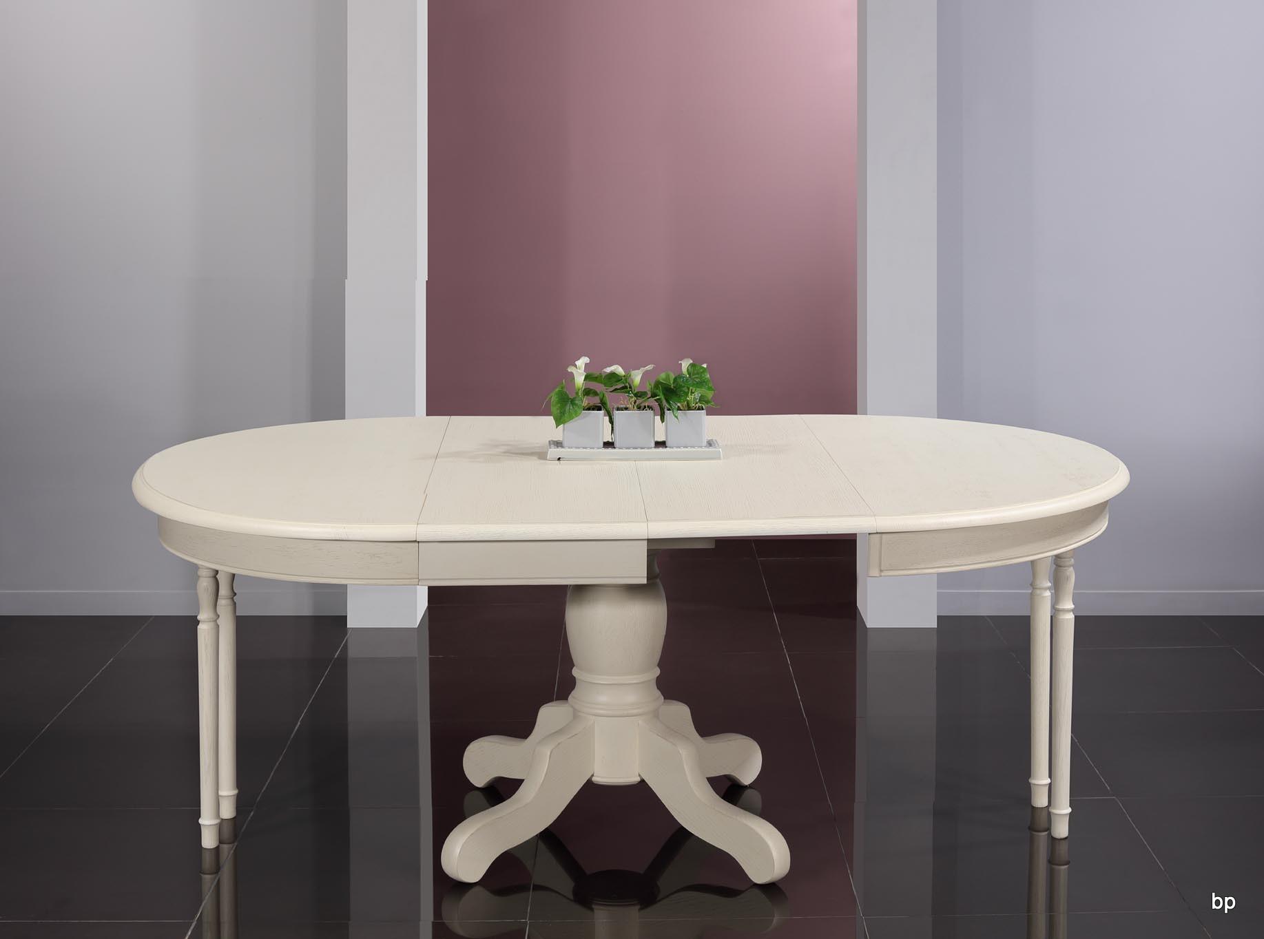 table ronde pied central en ch ne massif de style louis philippe diametre 120 finition lin. Black Bedroom Furniture Sets. Home Design Ideas