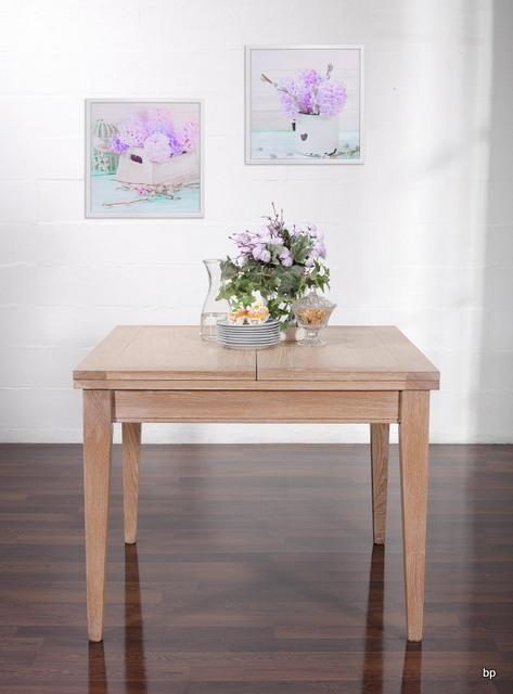 Table de repas 100x100 en ch ne massif de style - Plateau de table chene massif ...