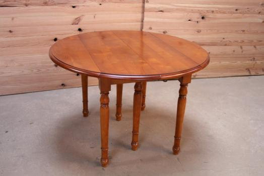 Table Ronde Volets Diametre 110 De Style Louis Philippe En Merisier Massif 3 Allonges De 40 Cm