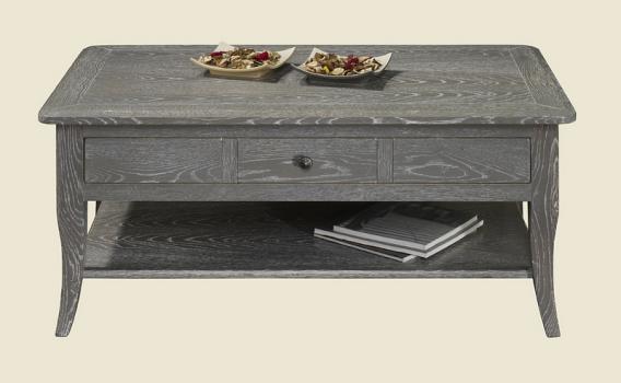 Table basse rectangulaire 100x60 COLLECTION LISA en Chêne de style ...   {Table de salon grise 50}