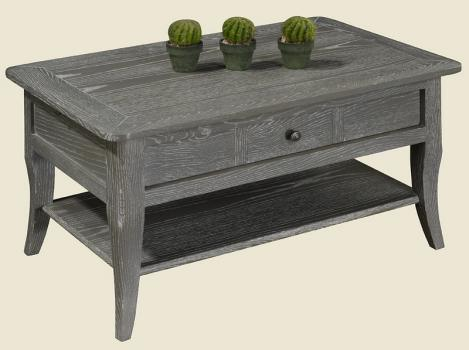 Table basse rectangulaire 85x55 collection lisa en ch ne - Table basse bois blanchi ...