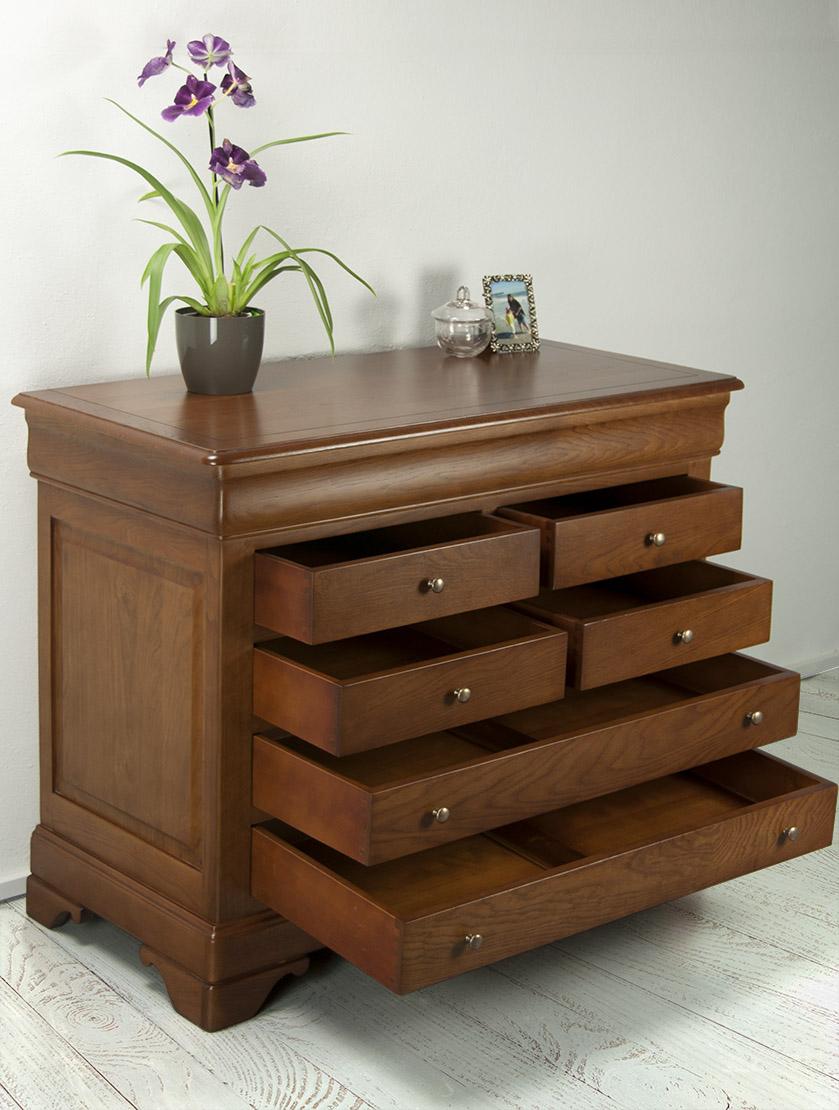 commode 7 tiroirs en ch ne massif de style louis philippe meuble en ch ne massif. Black Bedroom Furniture Sets. Home Design Ideas