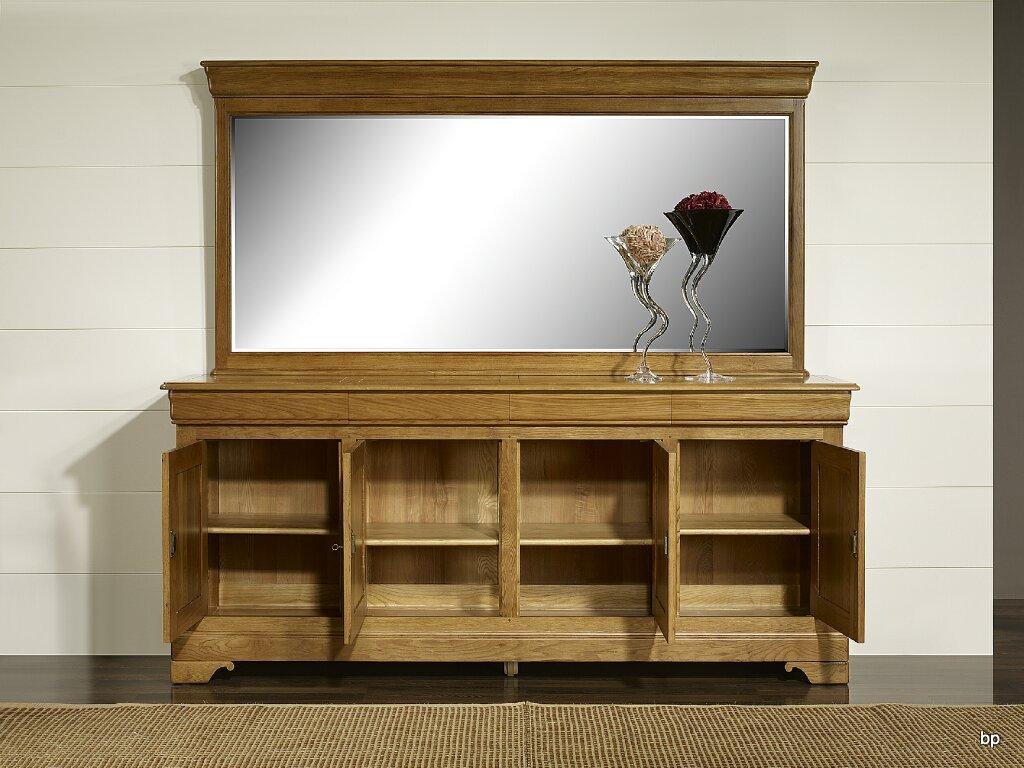 miroir pour buffet 4 portes en ch ne massif de style louis philippe meuble en ch ne massif. Black Bedroom Furniture Sets. Home Design Ideas