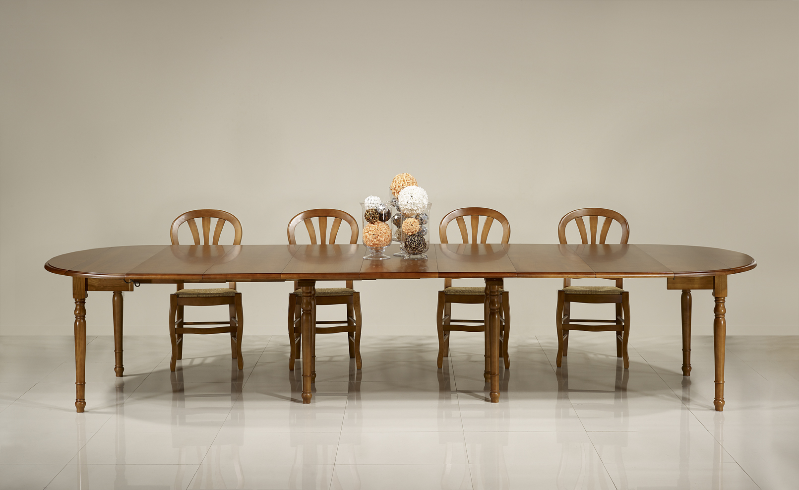 Table ronde volets diametre 120 en merisier massif de for Table ronde en bois massif avec rallonge