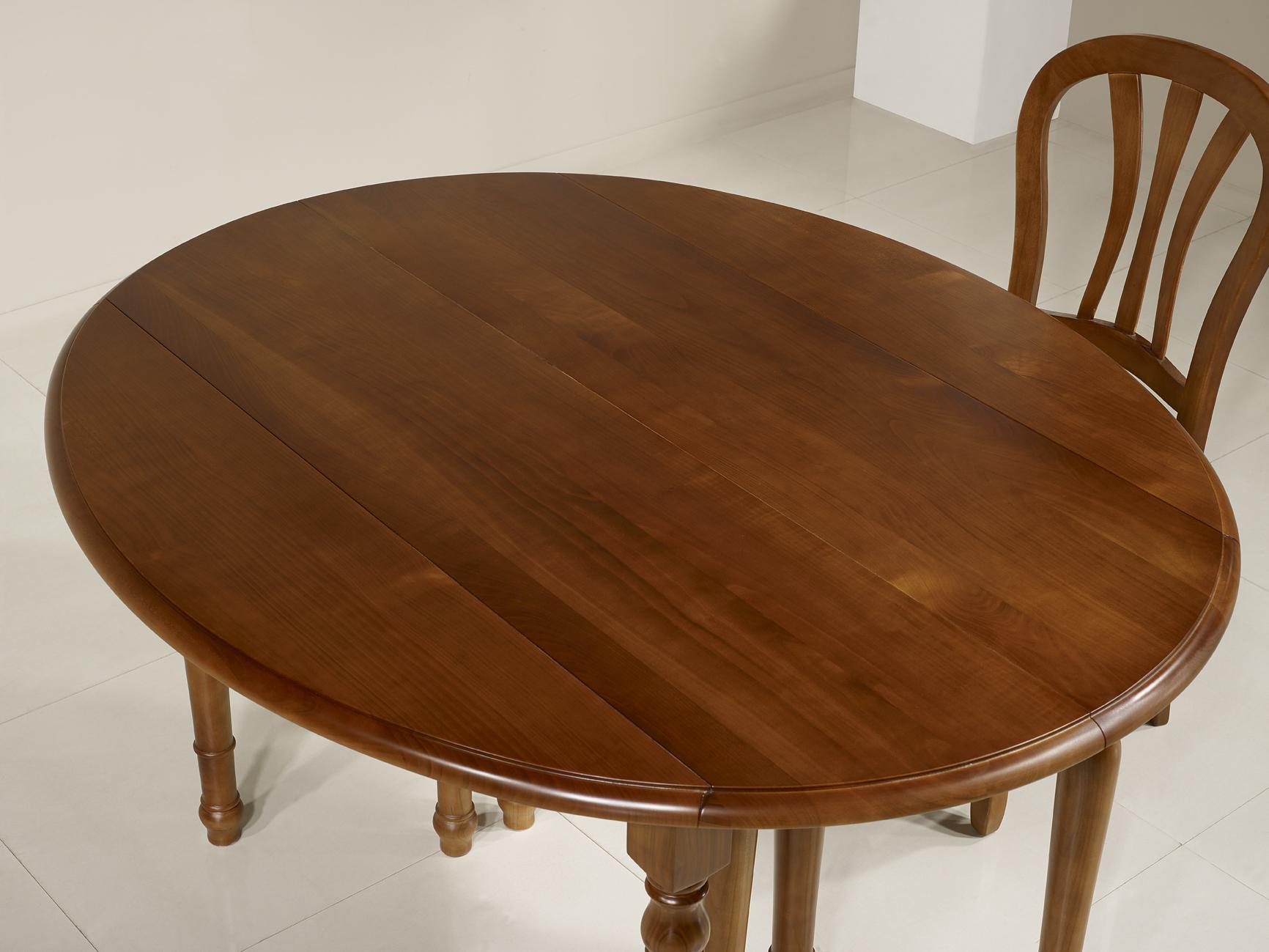Table ronde volets diametre 120 en merisier massif de - Table ronde style louis philippe ...