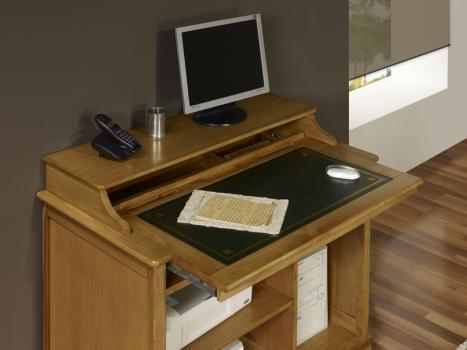 Petit bureau informatique en ch ne de style louis philippe meuble en ch ne - Tablette en chene massif ...