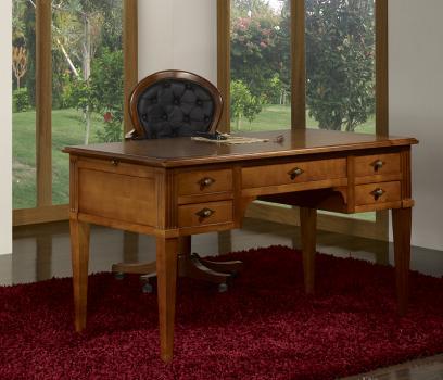 bureau ministre 5 tiroirs h l ne en merisier massif de style directoire meuble en merisier massif. Black Bedroom Furniture Sets. Home Design Ideas