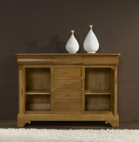 petit buffet 2 portes 7 tiroirs en ch ne massif de style louis philippe patin antiquaire l ger. Black Bedroom Furniture Sets. Home Design Ideas