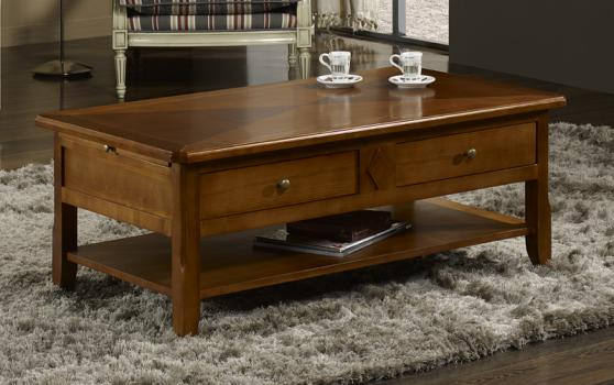 Table basse flore en merisier de style louis philippe for Table basse en merisier