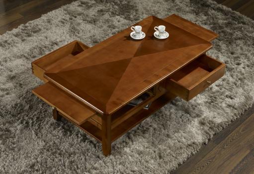 table basse flore en merisier de style louis philippe plateau marquette meuble en merisier massif. Black Bedroom Furniture Sets. Home Design Ideas