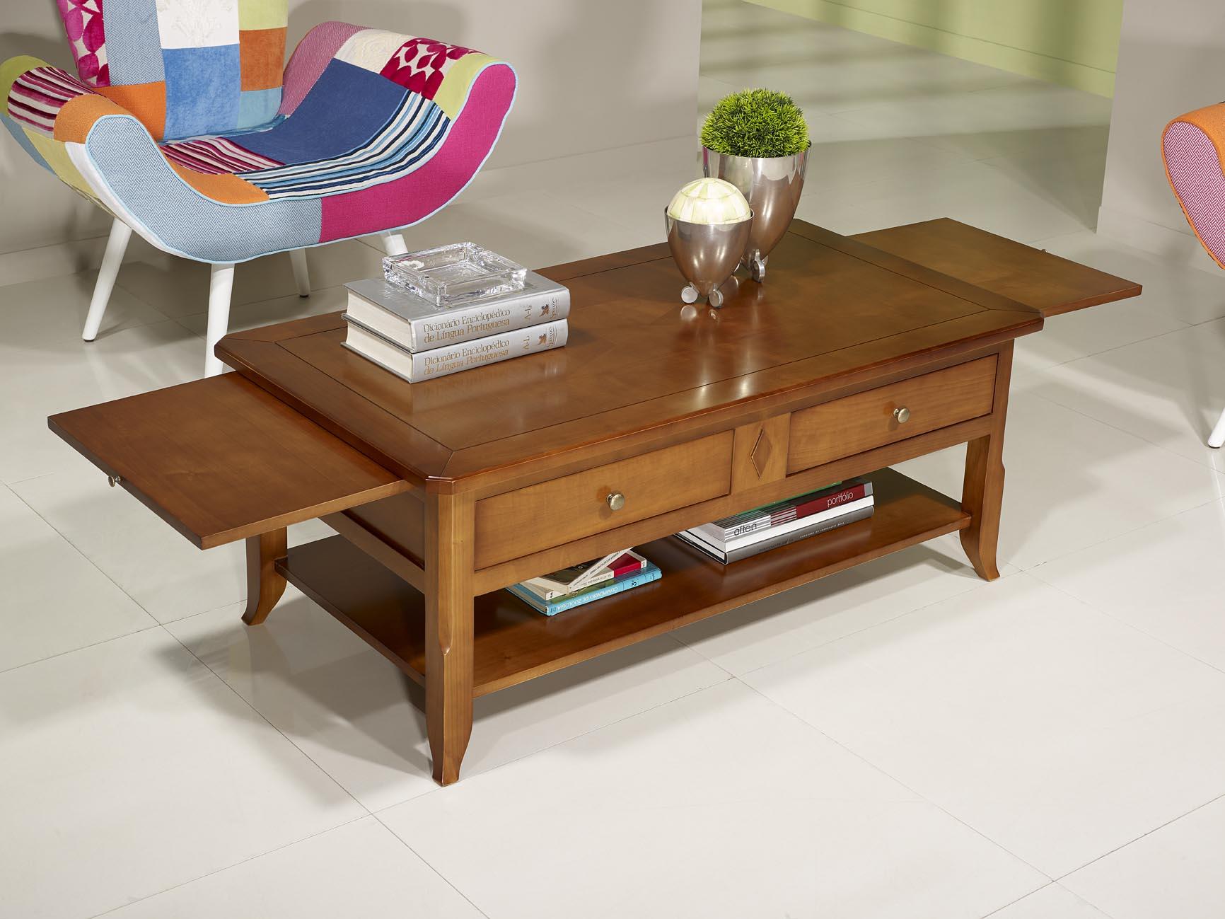 Table basse flore en merisier de style louis philippe for Table basse de style