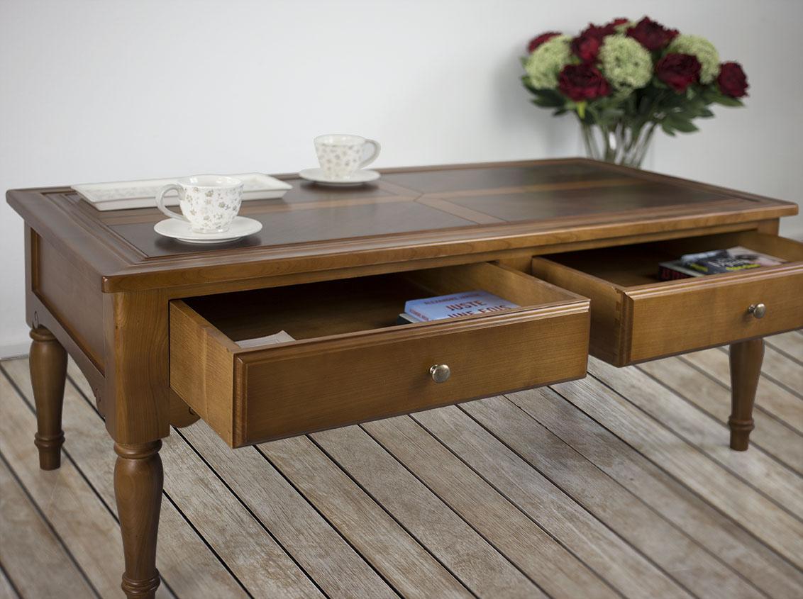table basse eva en merisier de style louis philippe plateau marquete meuble en merisier massif. Black Bedroom Furniture Sets. Home Design Ideas