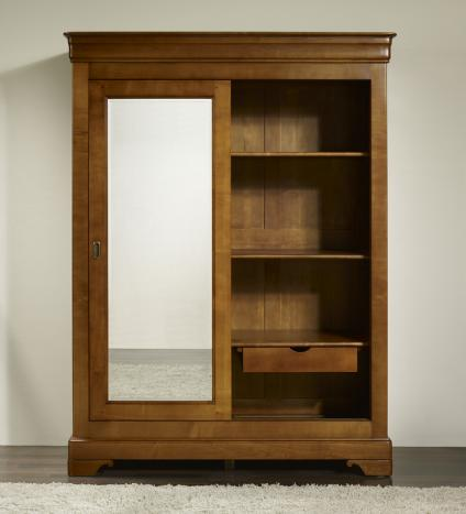 armoire 2 portes charlotte en merisier massif de style. Black Bedroom Furniture Sets. Home Design Ideas
