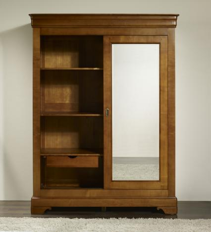 armoire 2 portes charlotte en merisier massif de style louis philippe portes coulissantes. Black Bedroom Furniture Sets. Home Design Ideas