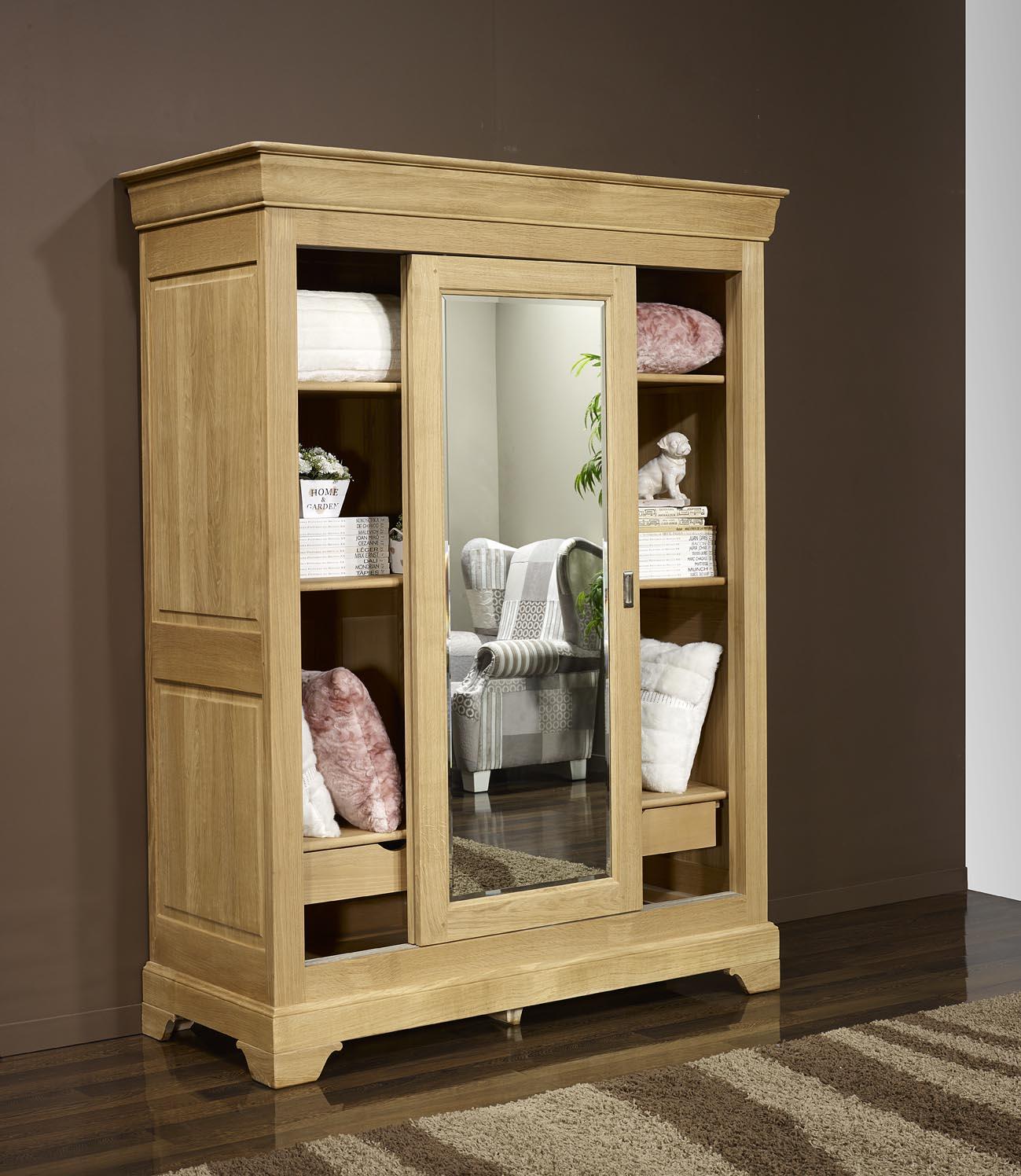 armoire 2 portes jean olivier en ch ne massif de style louis philippe portes coulissantes. Black Bedroom Furniture Sets. Home Design Ideas
