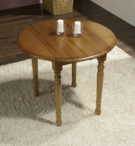 table ronde à volets diamètre 90 en chêne massif de style louis