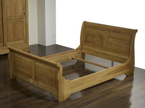 lit bateau 160x200 etienne en ch ne massif de style louis. Black Bedroom Furniture Sets. Home Design Ideas