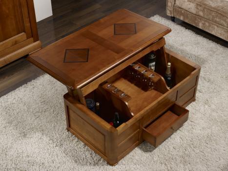 Table basse bar paul en merisier de style louis philippe for Bar de salon en bois