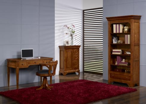 Fauteuil de bureau emilio en hêtre massif tournant meuble en