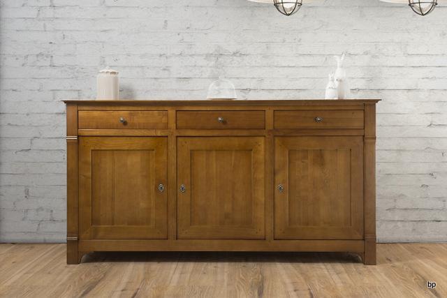 Buffet 3 portes 3 tiroirs marthe en merisier massif de for Soldes portes interieures