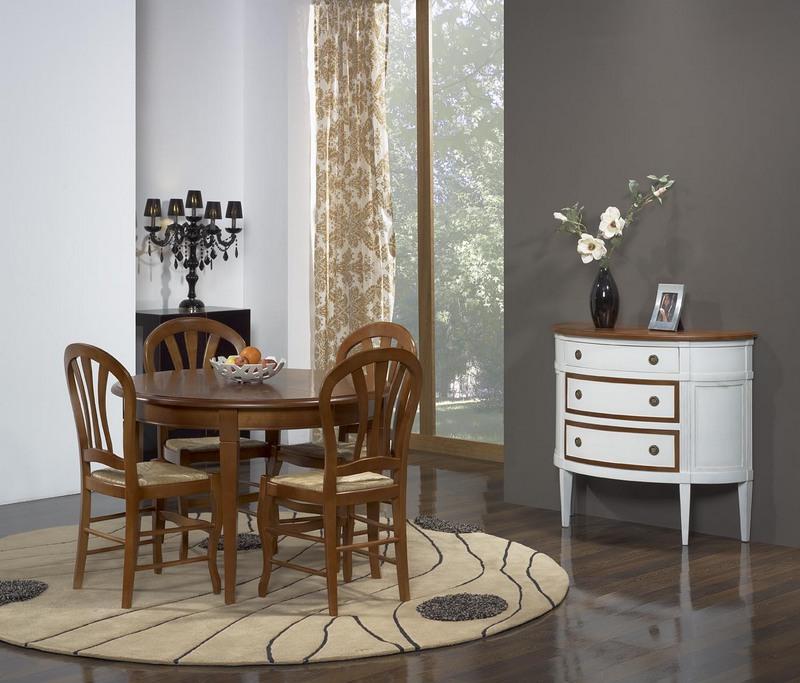 table ronde camille en merisier massif de style louis philippe pieds sabres diametre 110. Black Bedroom Furniture Sets. Home Design Ideas