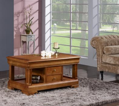 Table basse camille en merisier de style louis philippe 2 tiroirs en va et vient meuble en - Table basse louis philippe ...