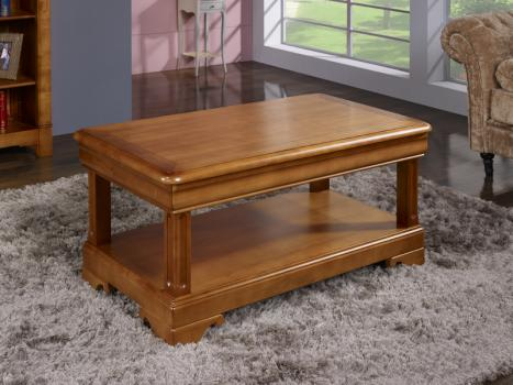 Table basse en merisier de style louis philippe 2 tiroirs for Table de salon merisier