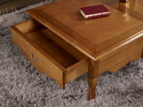 Table basse rectangulaire agn s en merisier de style louis xv meuble en merisier massif - Table basse style louis xv ...