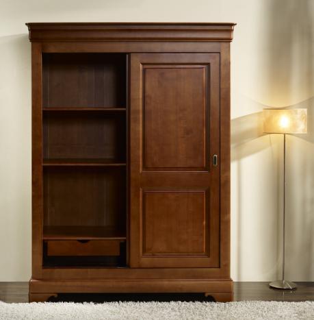 armoire 2 portes clara en merisier massif de style louis philippe portes coulissantes meuble. Black Bedroom Furniture Sets. Home Design Ideas