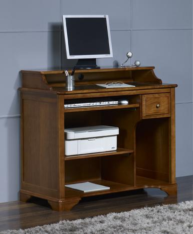 Petit bureau informatique malorie en merisier de style for Meuble informatique