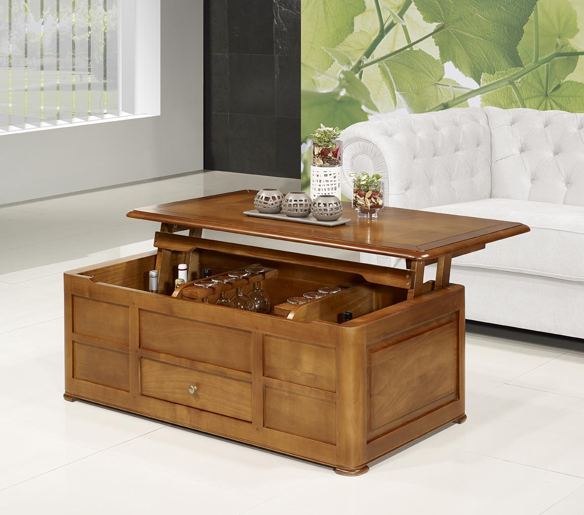 Table basse bar ine en merisier de style louis philippe for Meuble bar bois massif