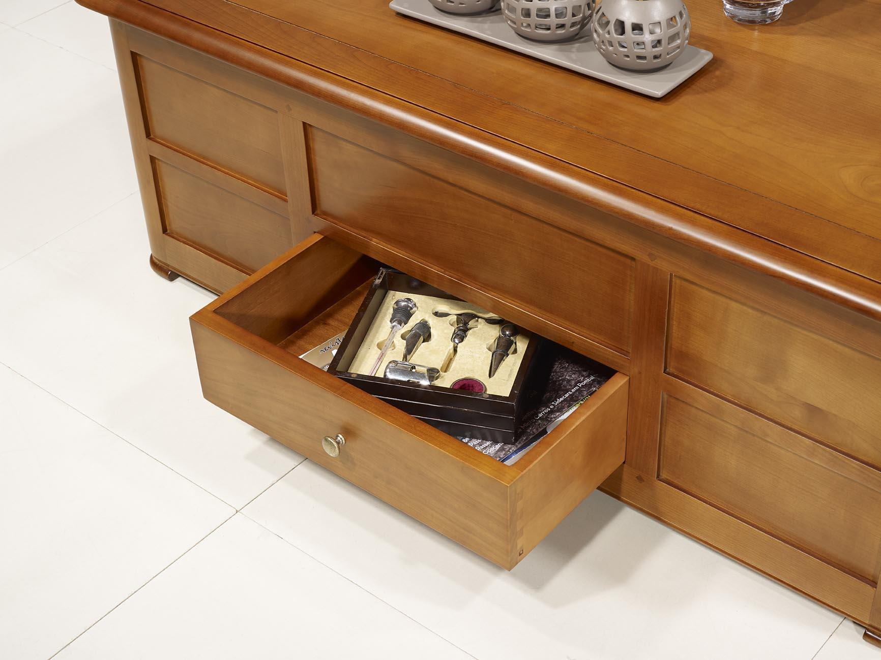 table basse bar ine en merisier de style louis philippe meuble en merisier massif. Black Bedroom Furniture Sets. Home Design Ideas