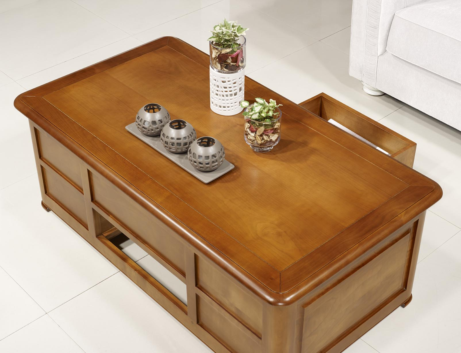 Table basse bar ine en merisier de style louis philippe for Table basse en merisier