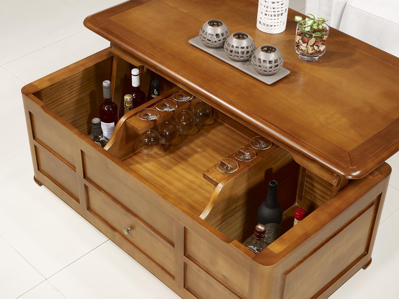 Table basse bar ine en merisier de style louis philippe meuble en merisier massif - Meuble bar bois ...
