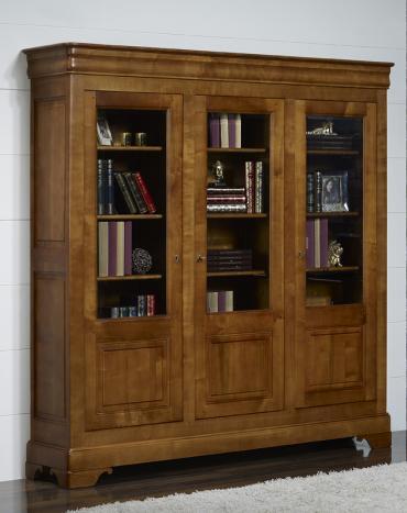 biblioth que 3 portes flore en merisier massif de style louis philippe meuble en merisier massif. Black Bedroom Furniture Sets. Home Design Ideas
