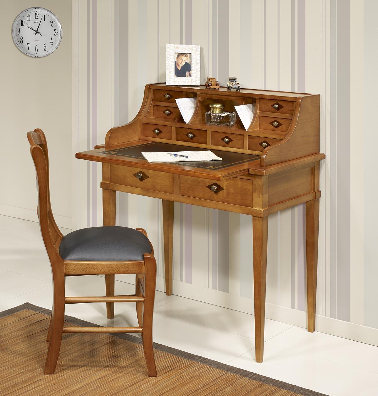bonheur du jour en merisier de style directoire surface d 39 criture en moleskine noire meuble. Black Bedroom Furniture Sets. Home Design Ideas