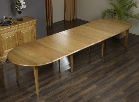 Table ronde volets val rie en ch ne massif de style for Table qui s allonge