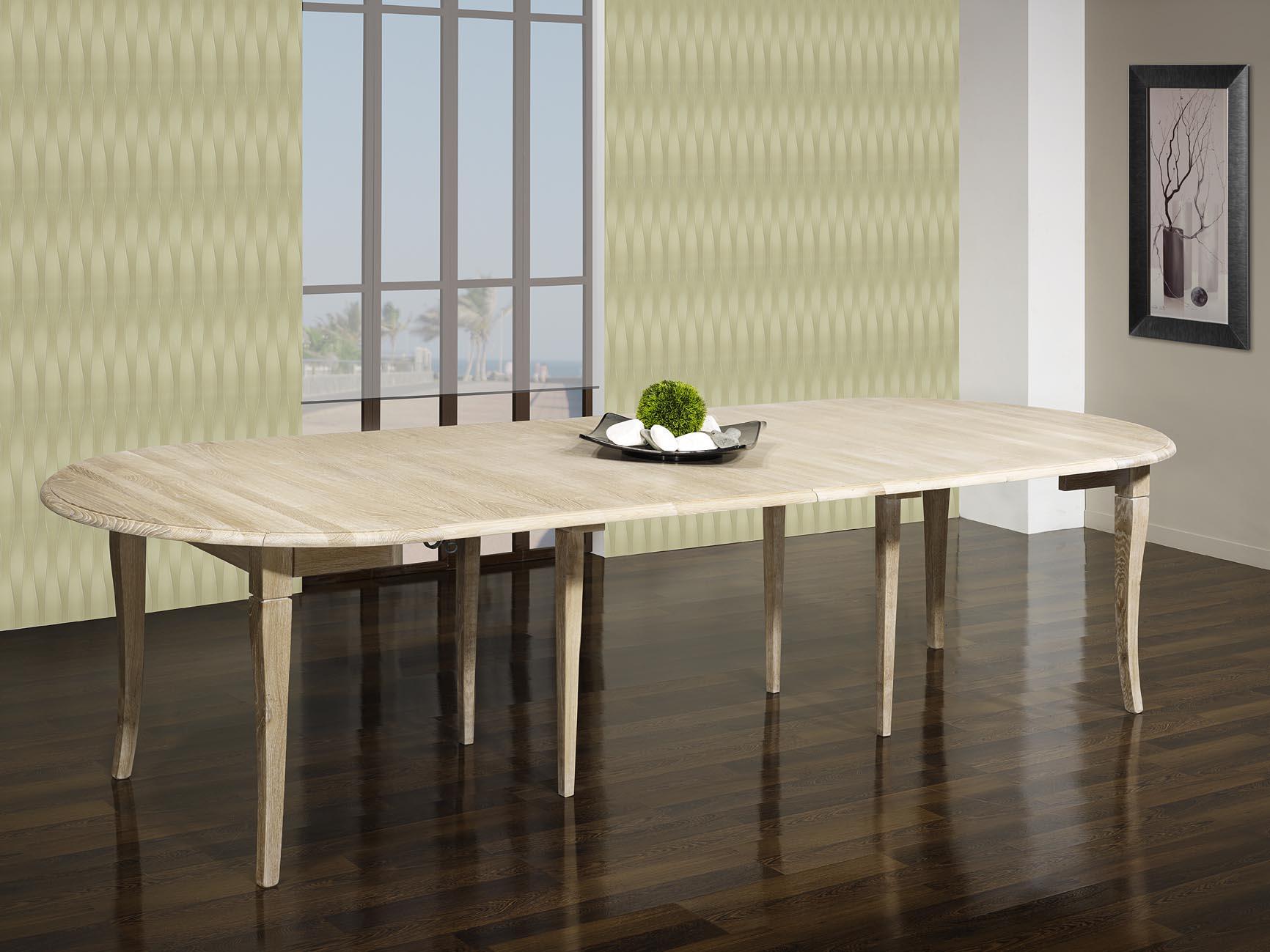 Table ronde volets val rie en ch ne massif de style - Table ronde chene massif avec allonges ...