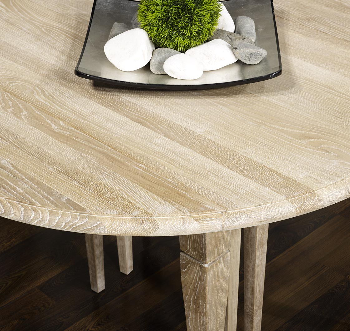 Table ronde volets val rie en ch ne massif de style for Table ronde bois massif