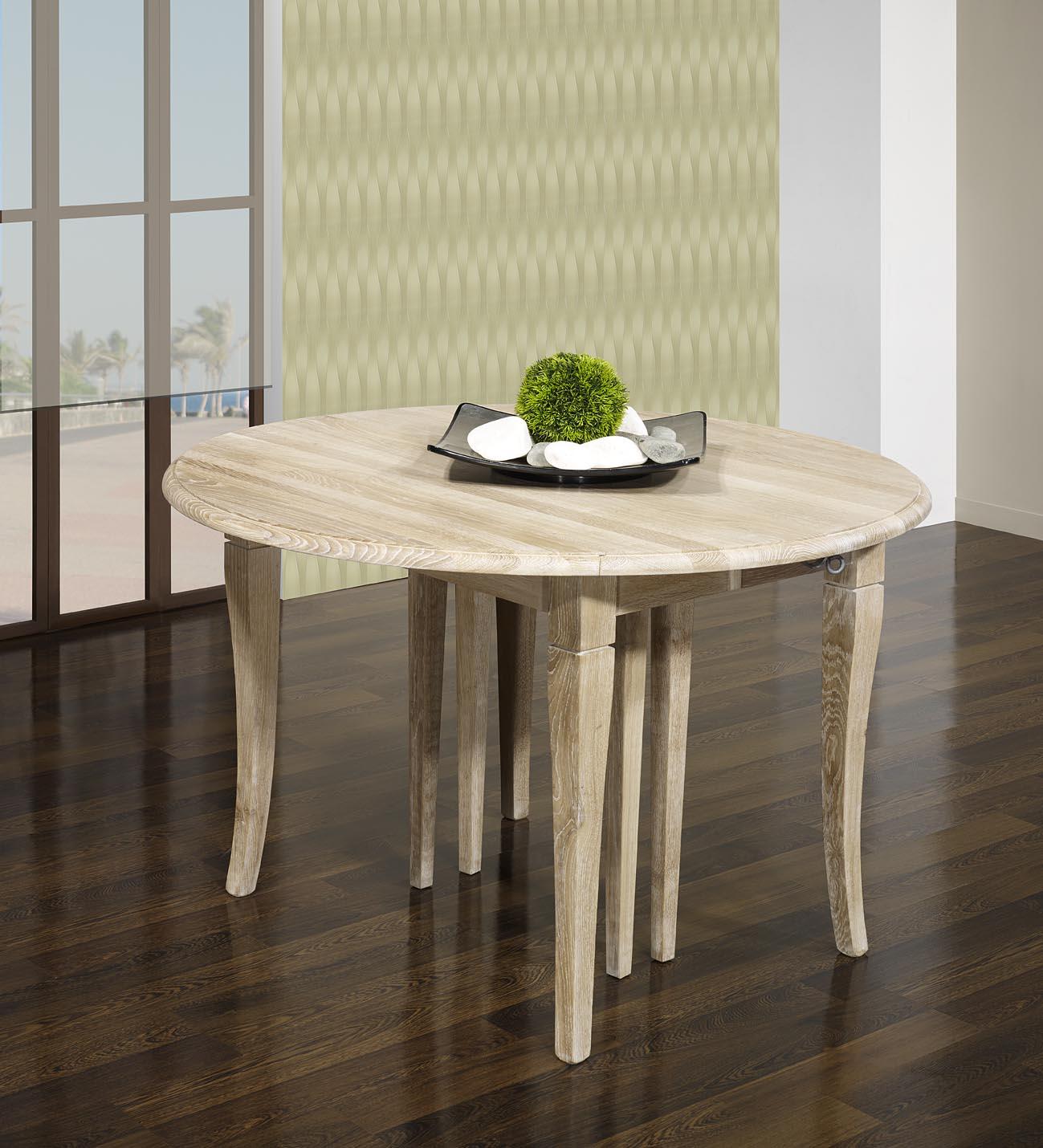 Table ronde volets val rie en ch ne massif de style for Table ronde chene massif avec allonges