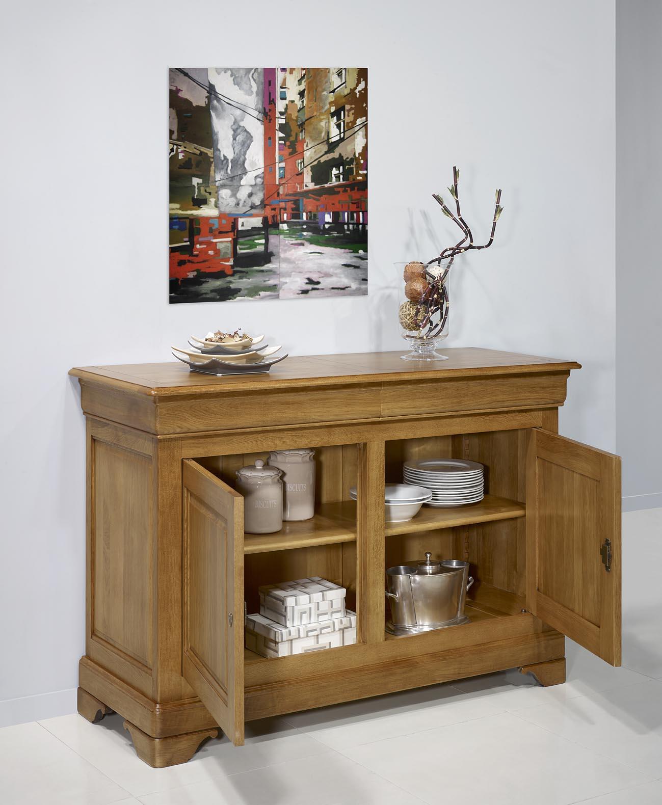 buffet 2 portes en ch ne massif de style louis philippe meuble en ch ne massif. Black Bedroom Furniture Sets. Home Design Ideas